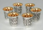 Hadad Chavalim Sterling Silver Liquor Cup Set - 6 Cups and Tray