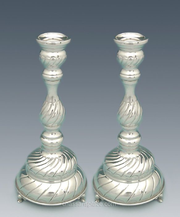 Hadad Small Passim Silver Candlesticks - 9""
