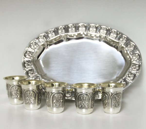 Hadad Gates Sterling Silver Liquor Cup Set - 6 Cups and Tray