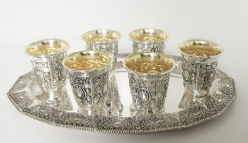 Hadad Roshet Sterling Silver Liquor Cup Set - 6 Cups and Tray