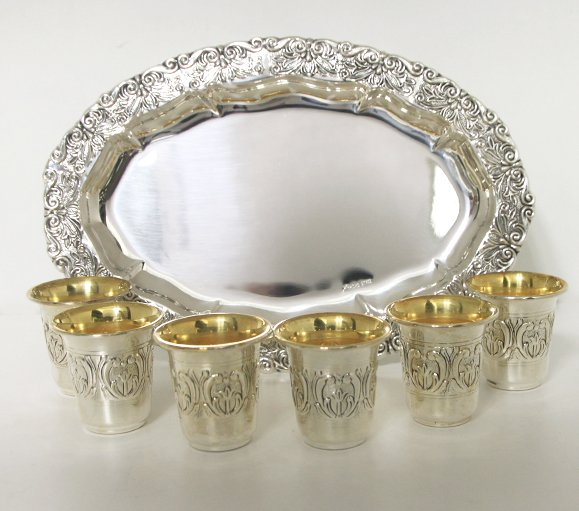 Hazorfim Garda Sterling Silver Liquor Cup Set - 6 Cups and Tray