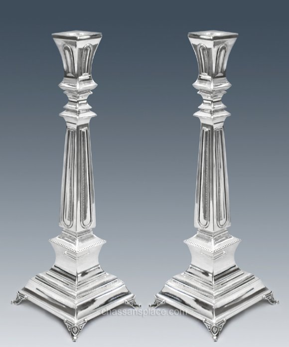 Supra Smooth Sterling Silver Candlesticks - 13""