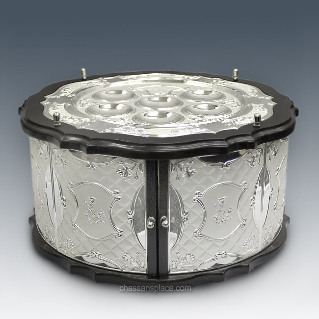 Hazorfim 3-Tiered Wood and Silver Seder Case