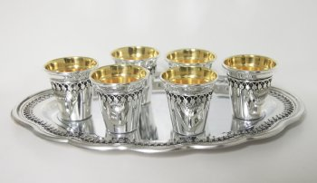 Hazorfim Sterling Silver Filigree Liquor Cup Set - 6 Cups and Tray