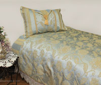Sienna Blue Brocade Linen Set - Tapestry 600-Thread Count