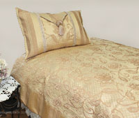 Sienna Brown Brocade Linen Set - Tapestry 600-Thread Count