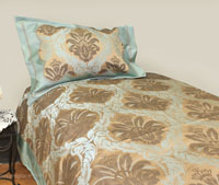Teal Flower Brocade Linen Set - Tapestry 600-Thread Count
