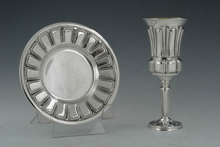 Smooth Posts Sterling Silver Kiddush Cup Set - Hadad