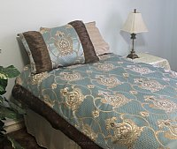 Palace Blue Brocade Linen Set - Tapestry 600-Thread Count