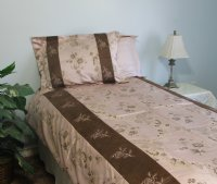 Pink Link Brocade & Suede Linen Set - 600 Thread Count