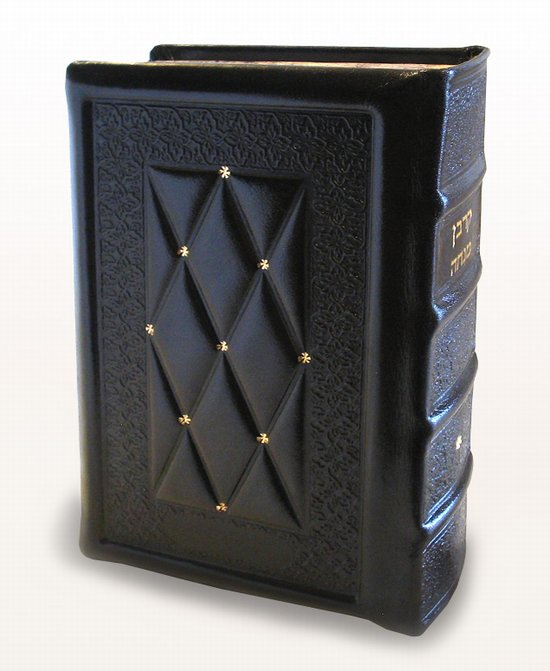Antique Leather Siddur-Brown with Gold