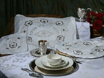 4 Piece Brocade Pesach Set with Sterling Silver Decorative plates