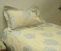 Blue Tulip Brocade Linen Set - Tapestry 600-Thread Count