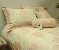 Pink Tulip Brocade Linen Set - Tapestry 600-Thread Count